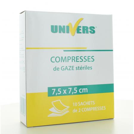 Compresse de Gaze Stériles Univers 7,5X7,5cm 20 pièces
