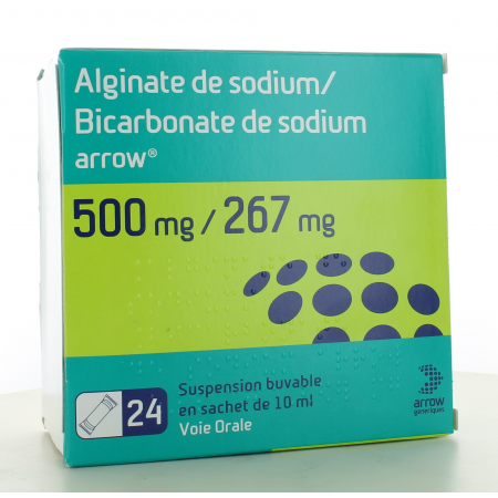 Alginate de Sodium / Bicarbonate de Sodium Arrow 500mg/267mg 24 sachets-dose