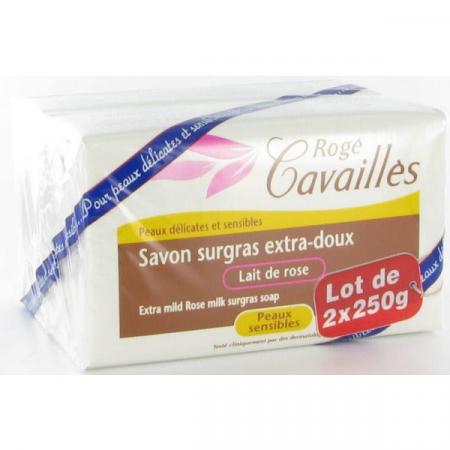Savon Surgras Extra-doux Lait de Rose Rogé Cavailles 2X250g