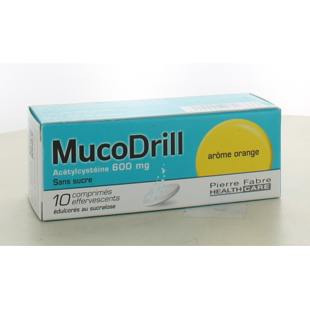 MucoDrill 600mg Sans Sucre Arôme Orange 10 comprimés effervescents