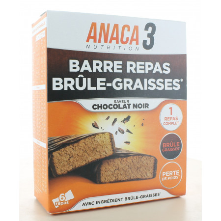 Anaca3 Barre Repas Brûle-graisse Chocolat Noir X6