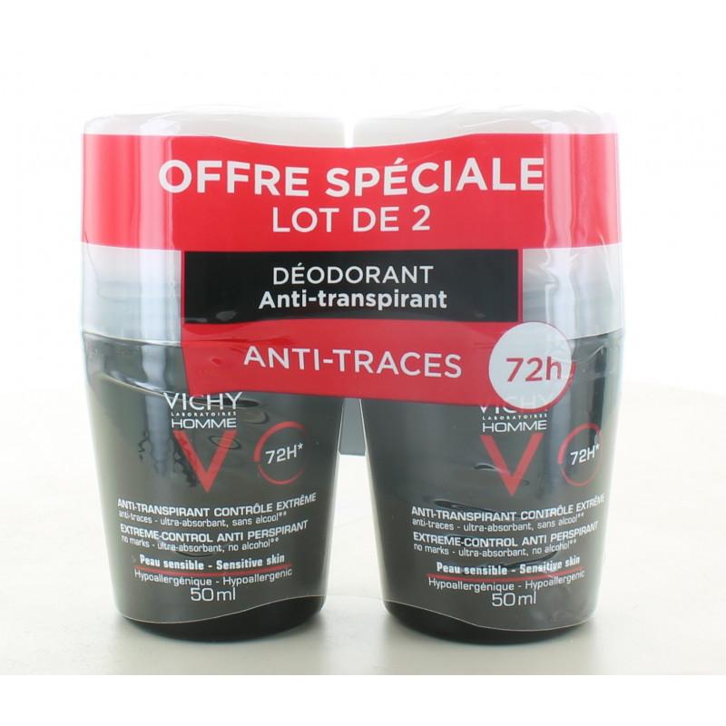 Vichy Homme Déodorant Bille Anti-transpirant 72h 2X50ml