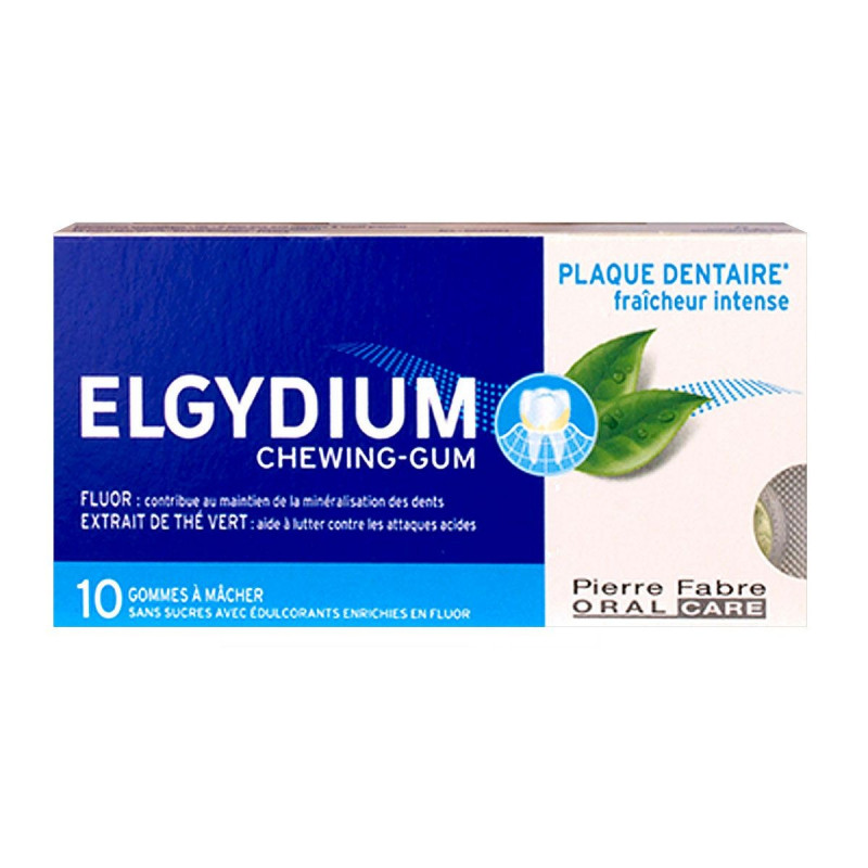 Elgydium Chewing-gum Plaque Dentaire Fraîcheur Intense X10
