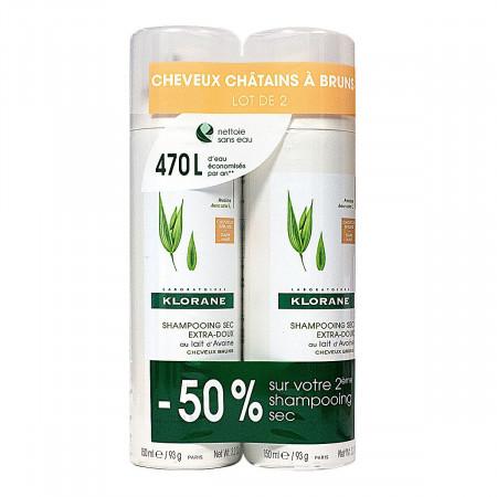 Klorane Shampoing Sec Extra-doux Cheveux Châtains à Bruns 2x150ml