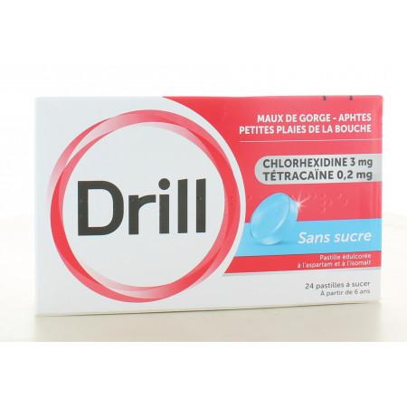 Drill Sans Sucre Maux de Gorge 24 pastilles à sucer