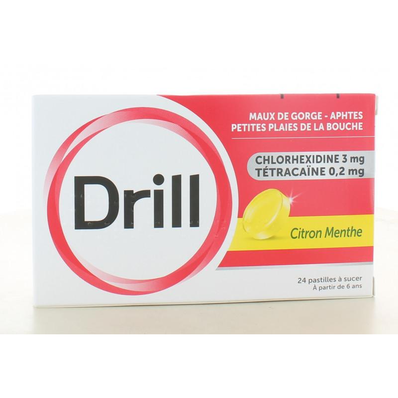 Drill Citron Menthe Maux de Gorge 24 pastilles à sucer