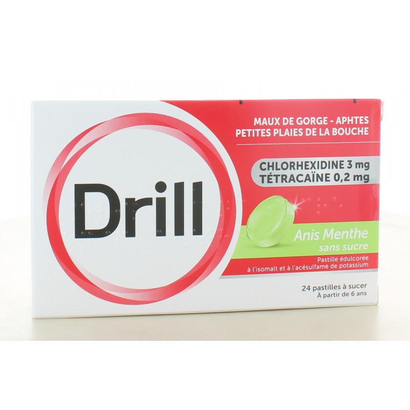 Drill Anis Menthe Sans Sucre Maux de Gorge 24 pastilles à sucer