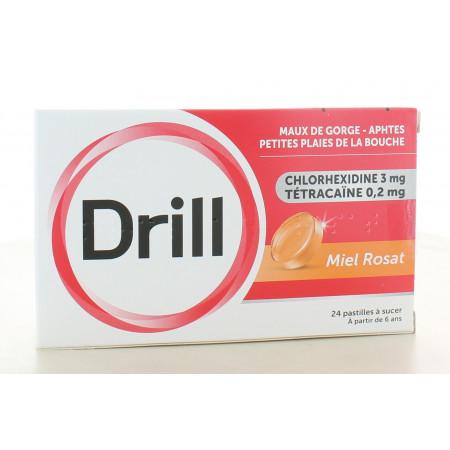 Drill Miel Rosat Maux de Gorge 24 pastilles à sucer