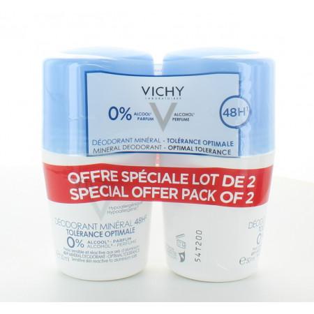 Vichy Déodorant Bille Minéral 48h Tolérance Optimal 2X50ml