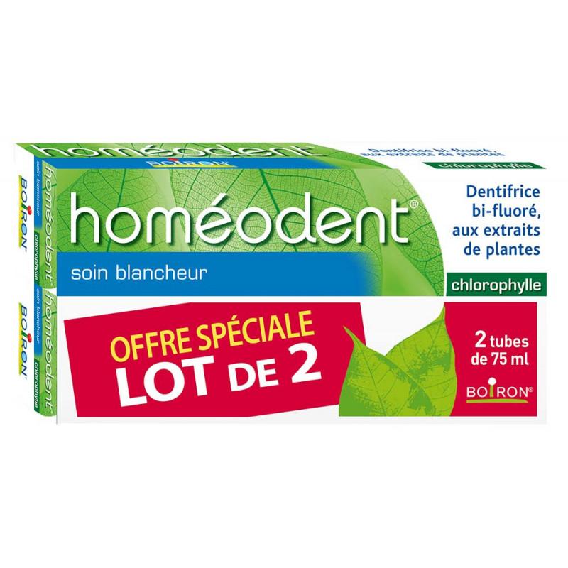 Dentifrice Bi-fluoré Soin Blancheur Homéodent Chlorophylle 2X75ml