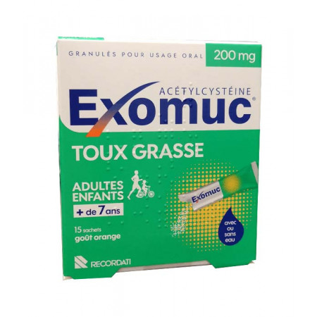 Exomuc Toux Grasse 200mg goût orange 15 sachets