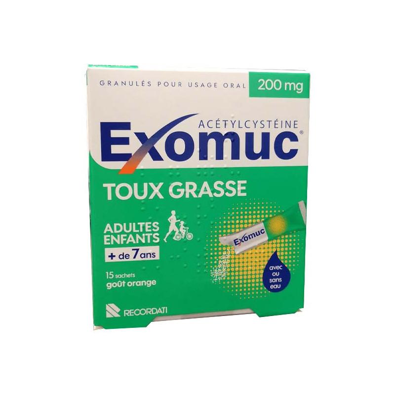 Exomuc Toux Grasse 200mg goût orange 15 sachets