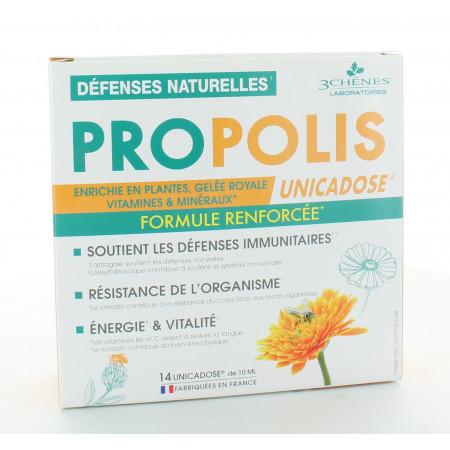 3 Chênes Propolis Unicadose Défenses Naturelles X14