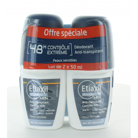 Etiaxil Déodorant Men Roll-on Anti-transpirant 48H 2X50ml