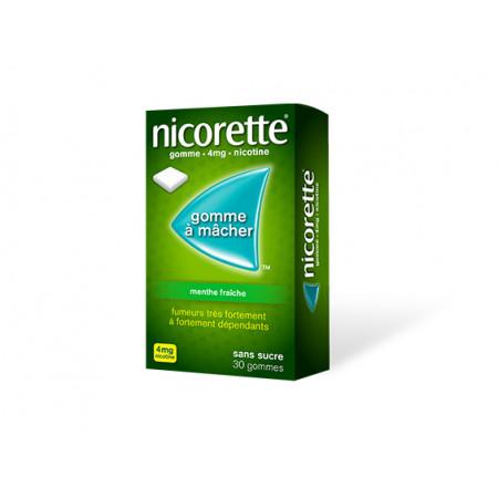 Nicorette 4 mg Menthe Fraîche sans sucre 30 gommes