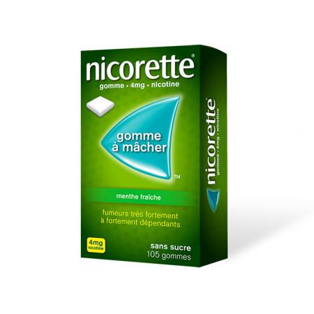 Nicorette 4 mg Menthe Fraîche Sans Sucre 105 gommes