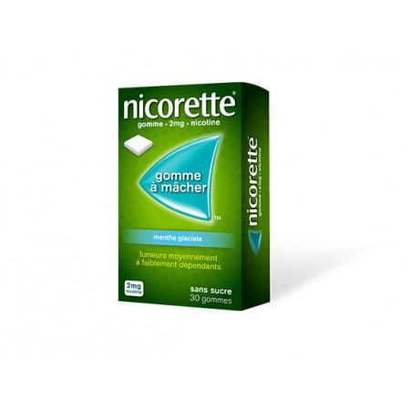 Nicorette 2 mg Menthe Glaciale sans sucre 30 gommes