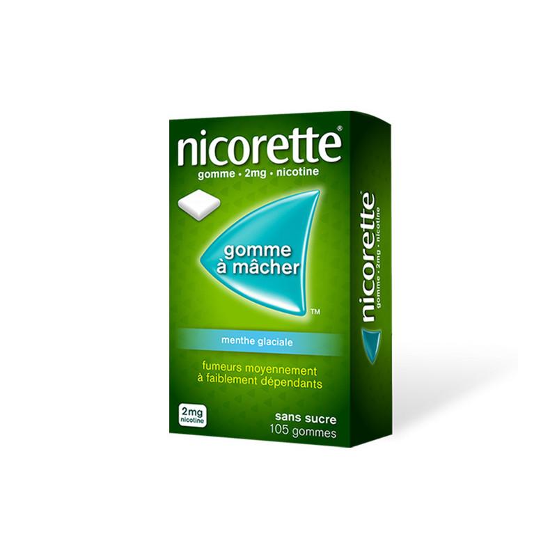 Nicorette 2 mg Menthe Glaciale sans sucre 105 gommes