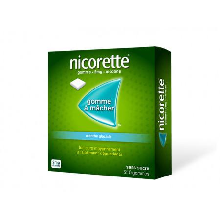 Nicorette 2 mg Menthe Glaciale sans sucre 210 gommes
