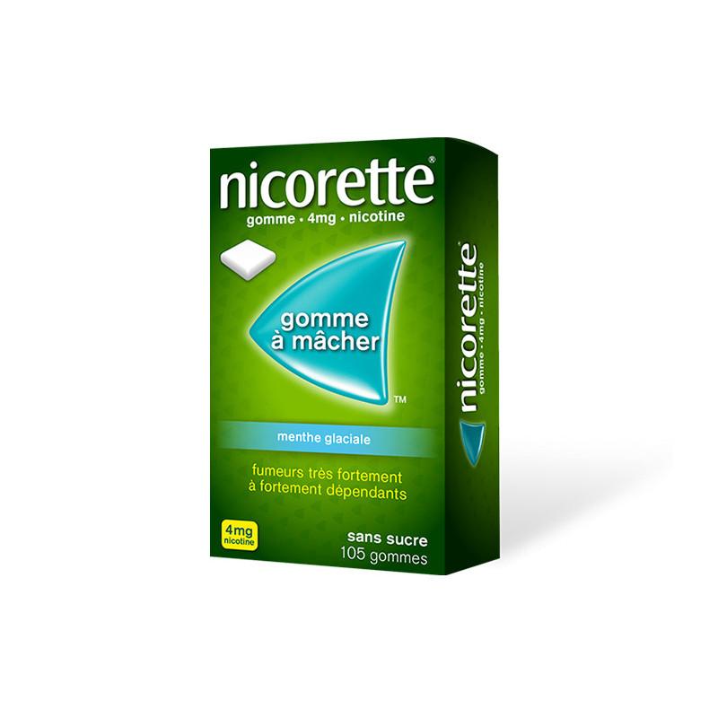 Nicorette 4 mg Menthe Glaciale sans sucre 105 gommes