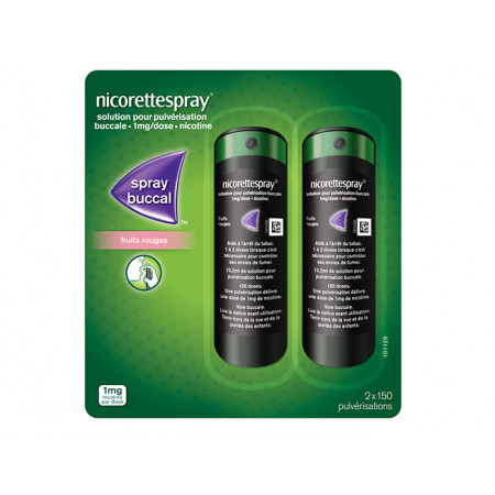 Nicorettespray Fruits Rouges 1 mg/dose 2 flacons