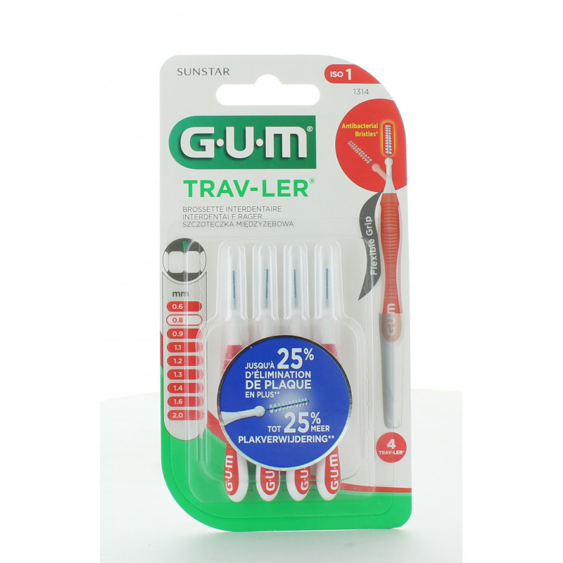 GUM Trav-Ler 1314 Brossettes Interdentaires 0,8mm X4