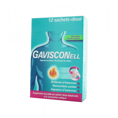 Gavisconell Menthe sans sucre 12 sachets-dose