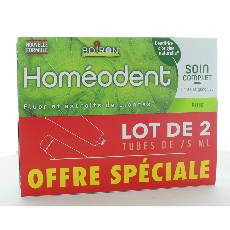 Dentifrice Homéodent Soin Complet Dents et Gencives Anis 2x75 ml