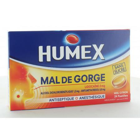Humex Mal de Gorge Lidocaïne 2mg 24 Pastilles