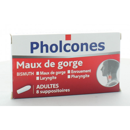 Pholcones Bismuth Maux de Gorge 8 suppositoires