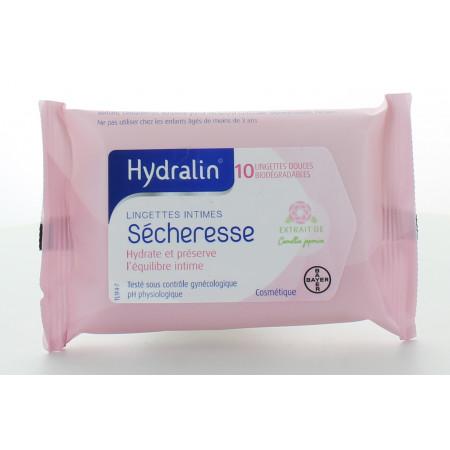 Hydralin Sécheresse Lingettes Intimes X10
