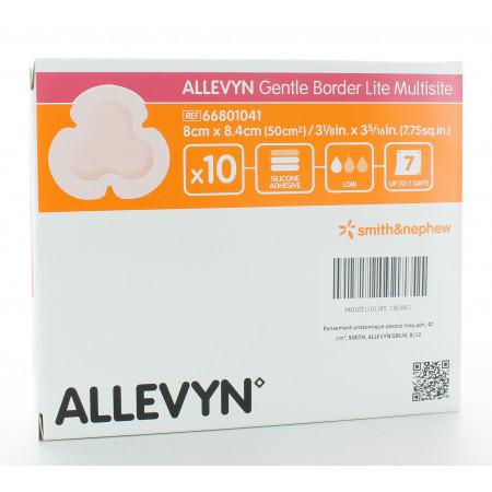 Allevyn Gentle Border Lite Multisite 8cm X 8,4cm 10 pièces