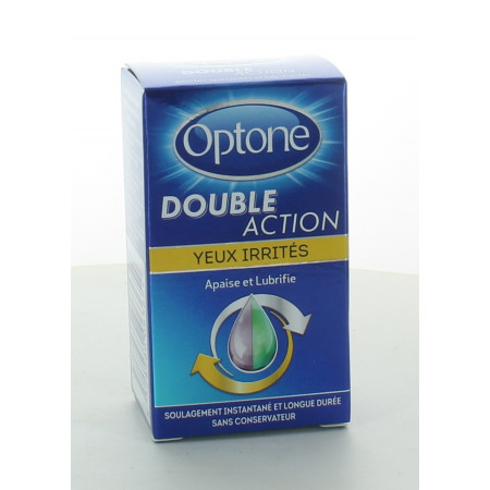Optone Double Action Yeux Irrités Solution Oculaire 10ml