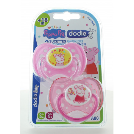 Dodie Sucette Anatomique Peppa Pig +18mois X2