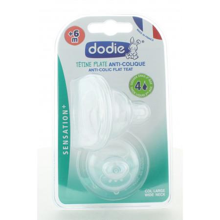 Dodie Tétine Plate Anti-Colique Liquide Épais +6m X2