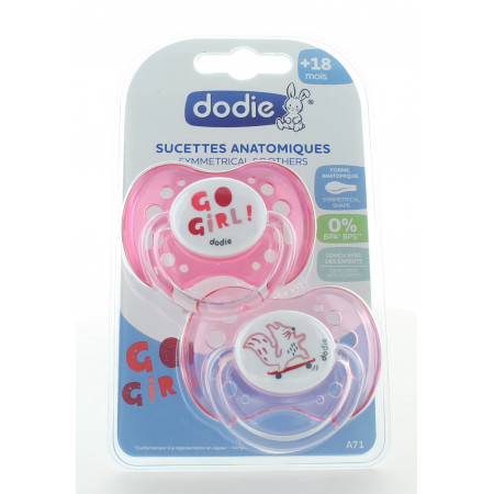 Dodie Sucette Anatomique Girly +18mois X2