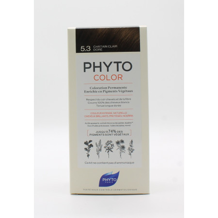 Phyto Color Kit Coloration Permanente 5.3 Châtain Clair Doré