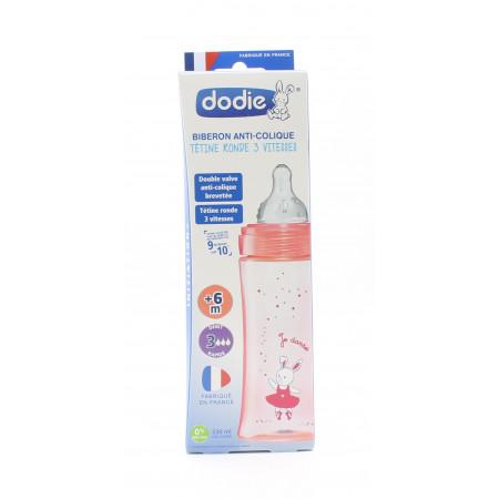 Dodie Biberon Anti-colique 3 Vitesses Rose +6mois 330ml