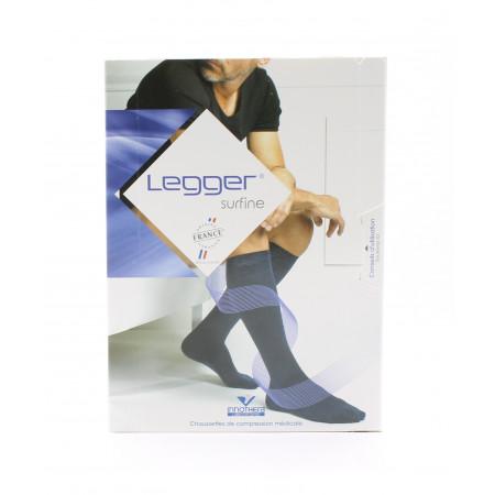 Legger Surfine Chaussettes de Compression Médicale T2 Long Noir
