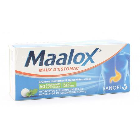 Maalox Maux d'Estomac Menthe sans sucre 60 comprimés