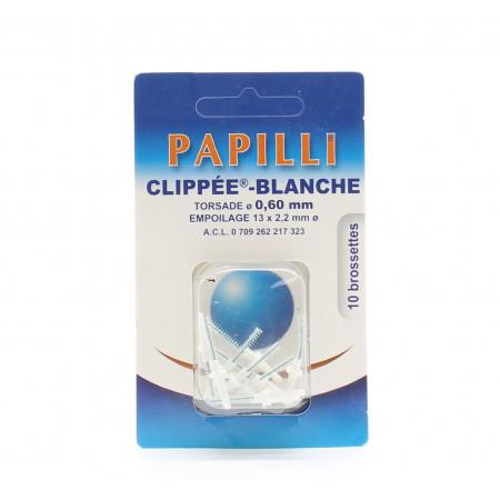 Papilli Clippée Blanche Torsade 0,60mm Empoilage 13X2,2mm 10 Brossettes