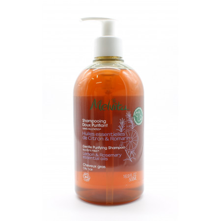 Melvita Shampooing Doux Purifiant Huiles Essentielles de Citron & Romarin Bio 500ml