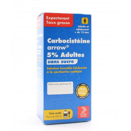 Carbocistéine Arrow 5% Adultes Sans Sucre 200ml - Univers Pharmacie
