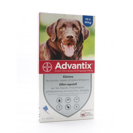 Advantix Grand Chien 25-40kg Pipettes 4X4,0ml - Univers Pharmacie