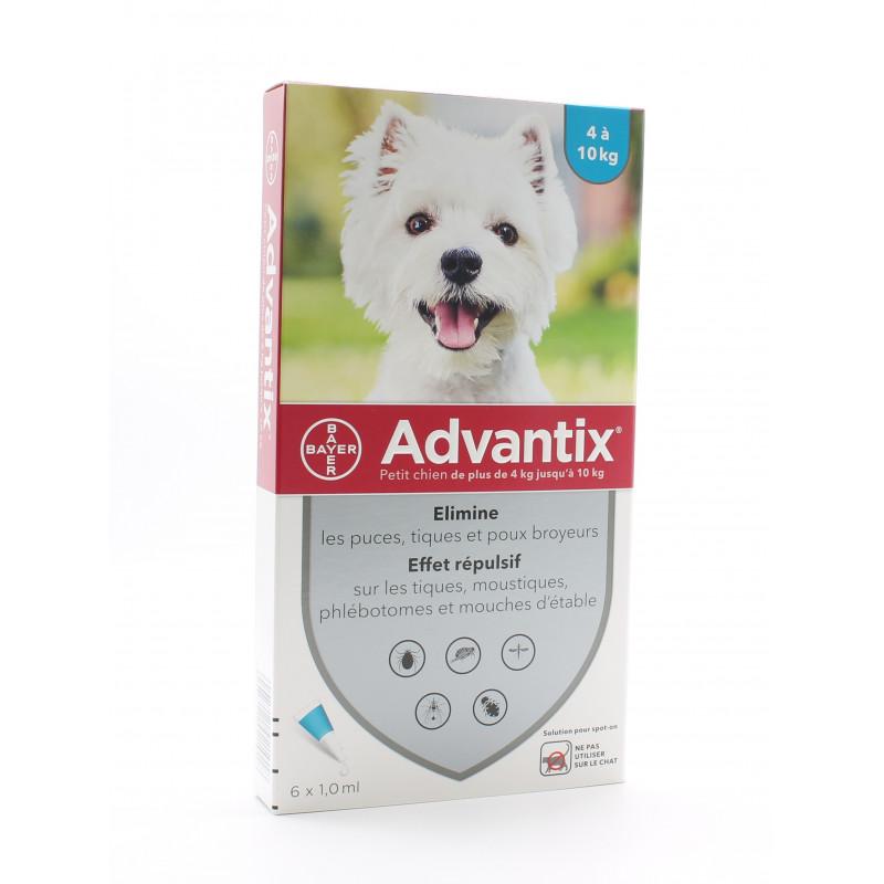 Advantix Petit Chien 4-10kg Pipettes 6X1ml - Univers Pharmacie