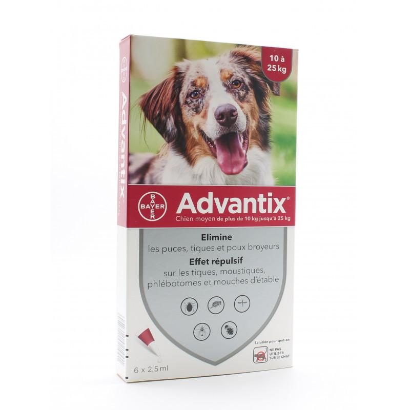 Advantix Moyen Chien 10-25kg Pipettes 6X2,5ml - Univers Pharmacie