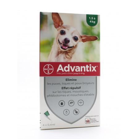 Advantix Très Petit Chien 1,5-4kg Pipettes 4X0,4ml - Univers Pharmacie