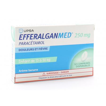 EfferalganMed 250mg Enfant 13-50kg 12 comprimés dispersibles - Univers Pharmacie