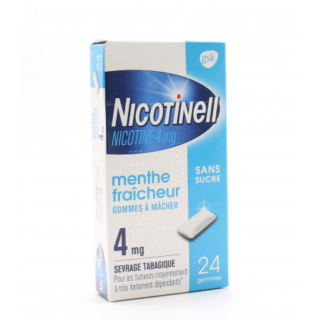 Nicotinell Menthe Fraîcheur 4mg sans sucre 24 gommes - Univers Pharmacie