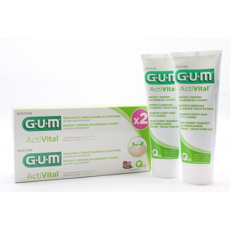 GUM ActiVital Dentifrice 2X75ml - Univers Pharmacie